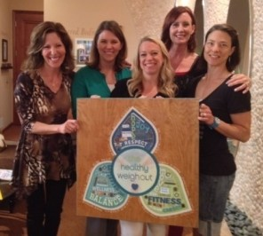 TheHealthyWeighOut team receiving an amazing handmade gift created by one of our outstanding group of participants. This beautiful work of art now graces the entrance to our group room.